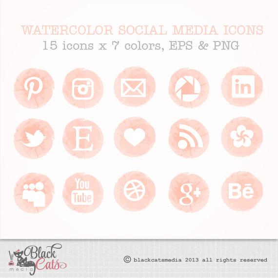 Watercolor Social media icons set of 15 x 7 colors pink peach grey.