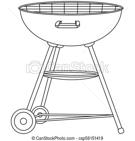 Line art black and white bbq grill on wheel.
