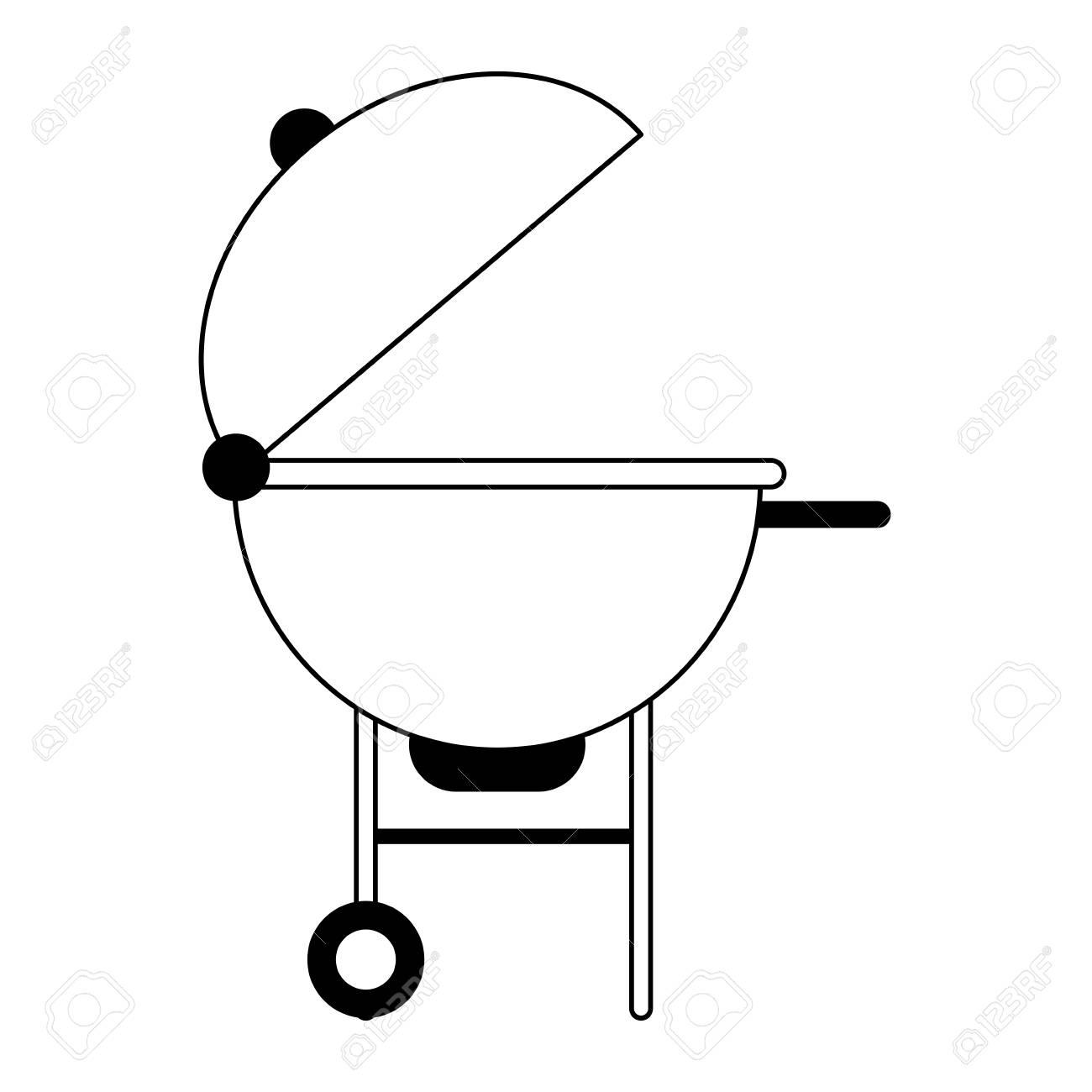 bbq grill icon image vector illustration design black and white.