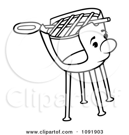 Clipart Outline Of A Charcoal Grill Character.