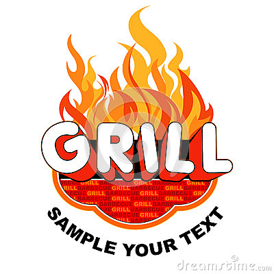 Grill Sticker On Flames Background. Royalty Free Stock Images.