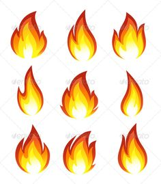 Flames and fire elements vector. 3 sets with different vector.
