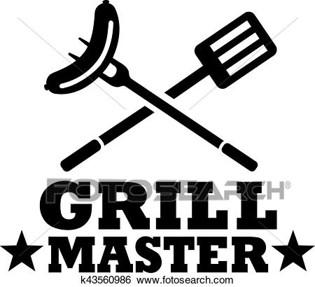 BBQ grill master with cutlery and sausage Clip Art.
