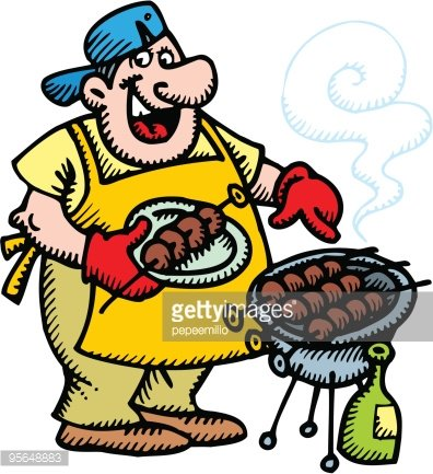 man and grill party Clipart Image.