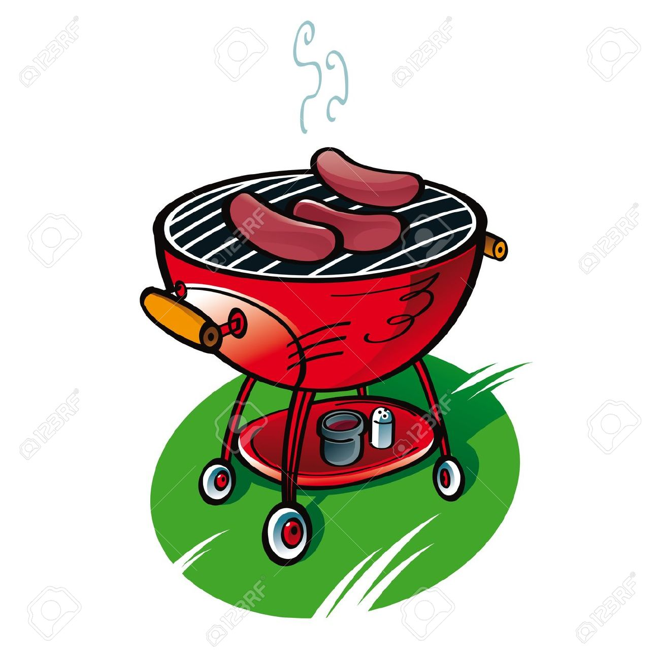Barbecue With Sausages On The Lawn Party Food Royalty Free.
