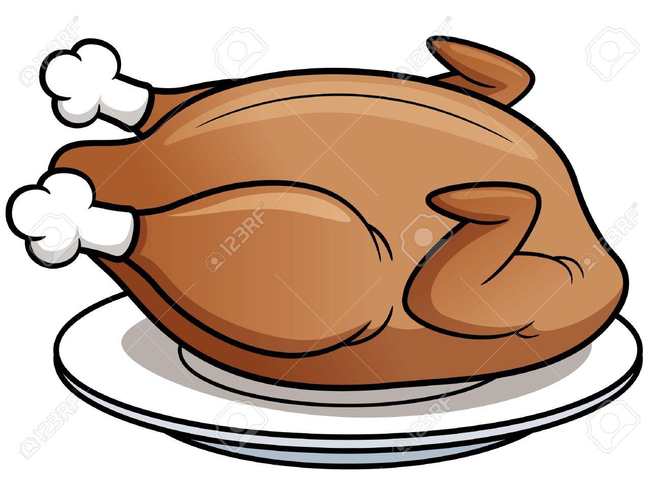 Vector illustration of roast chicken.
