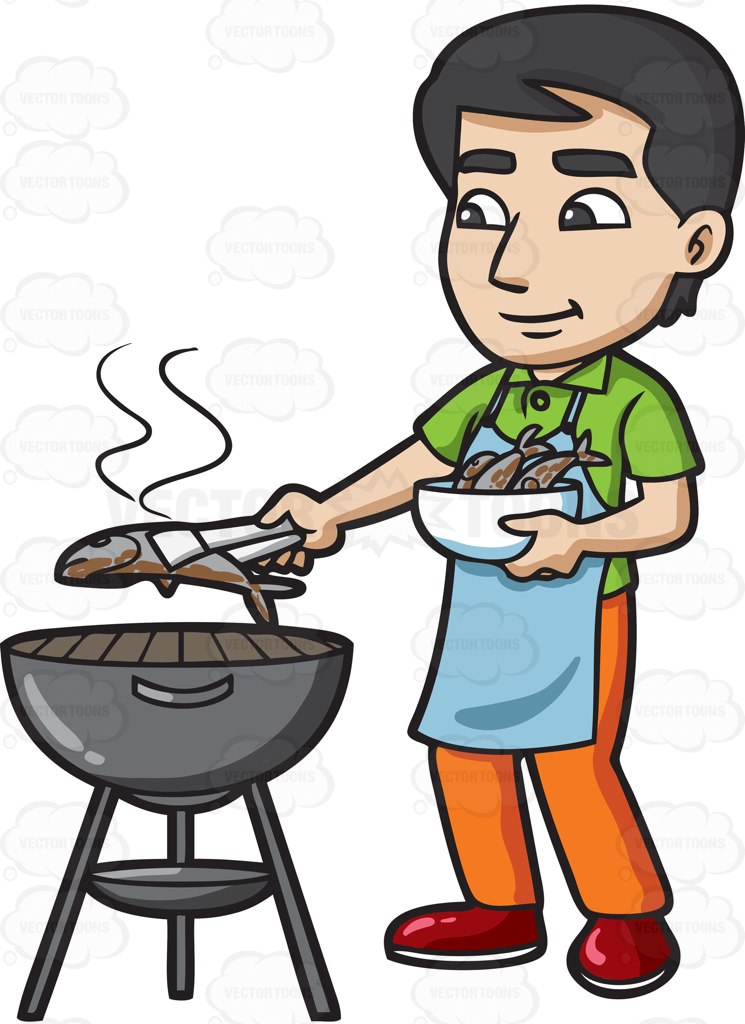 A Man Grilling Fish On The Bbq Cartoon Clipart.