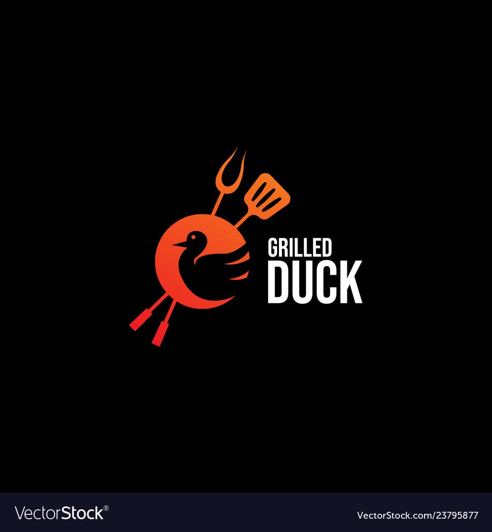 Logo grilled duck restaurant.