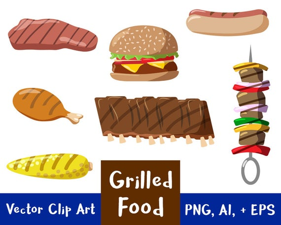 Grilled Food Clipart, Grilling Clip Art, Hamburger Clipart, Hot Dog  Clipart, 4th of July Clipart, Summer, Vector Clipart, PNG, AI, + EPS.