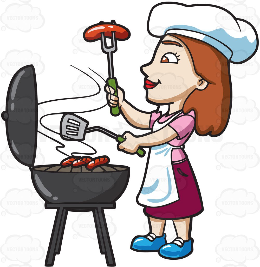 Woman grilling clipart » Clipart Station.