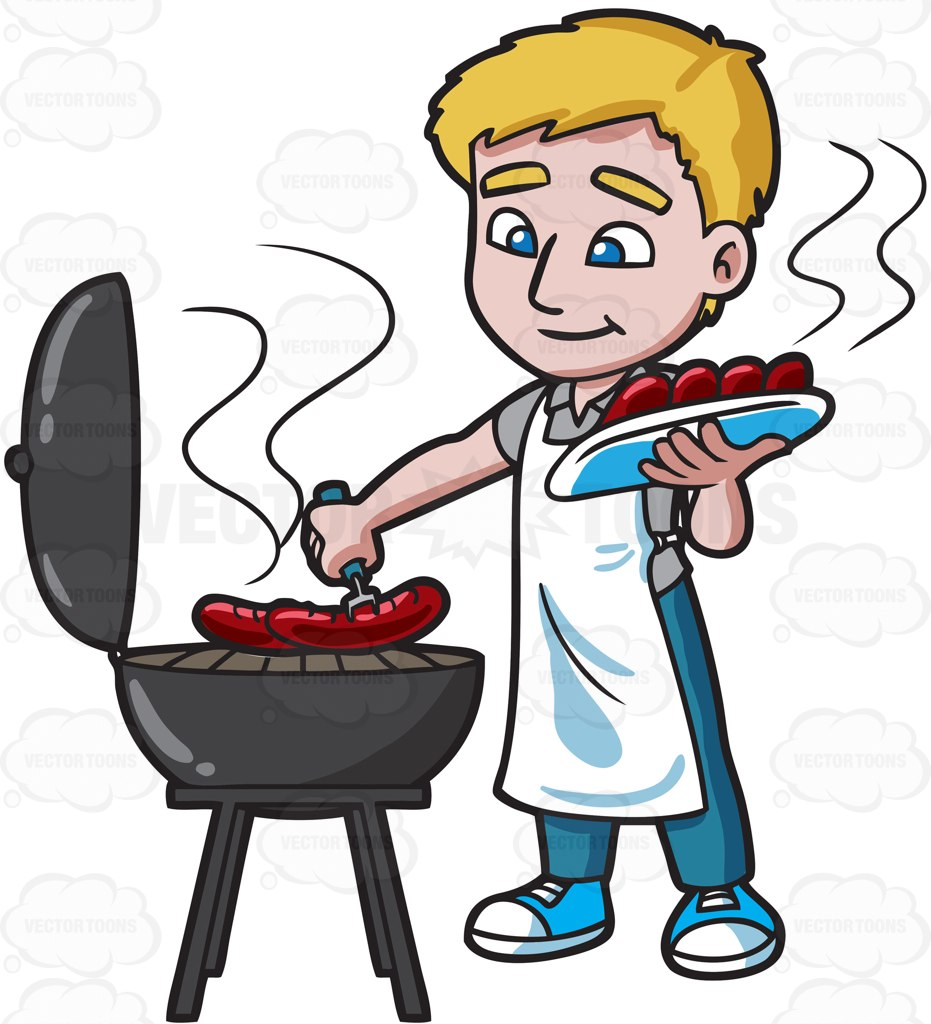 Hot dog grilling clipart free.