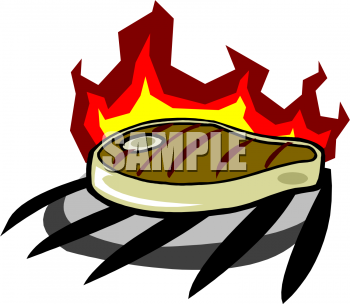 Steak On A Barbecue Grill Clipart Image.