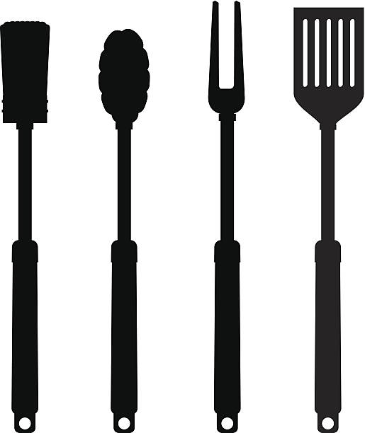 BBQ Tool Silhouettes Vector Art Illustration.
