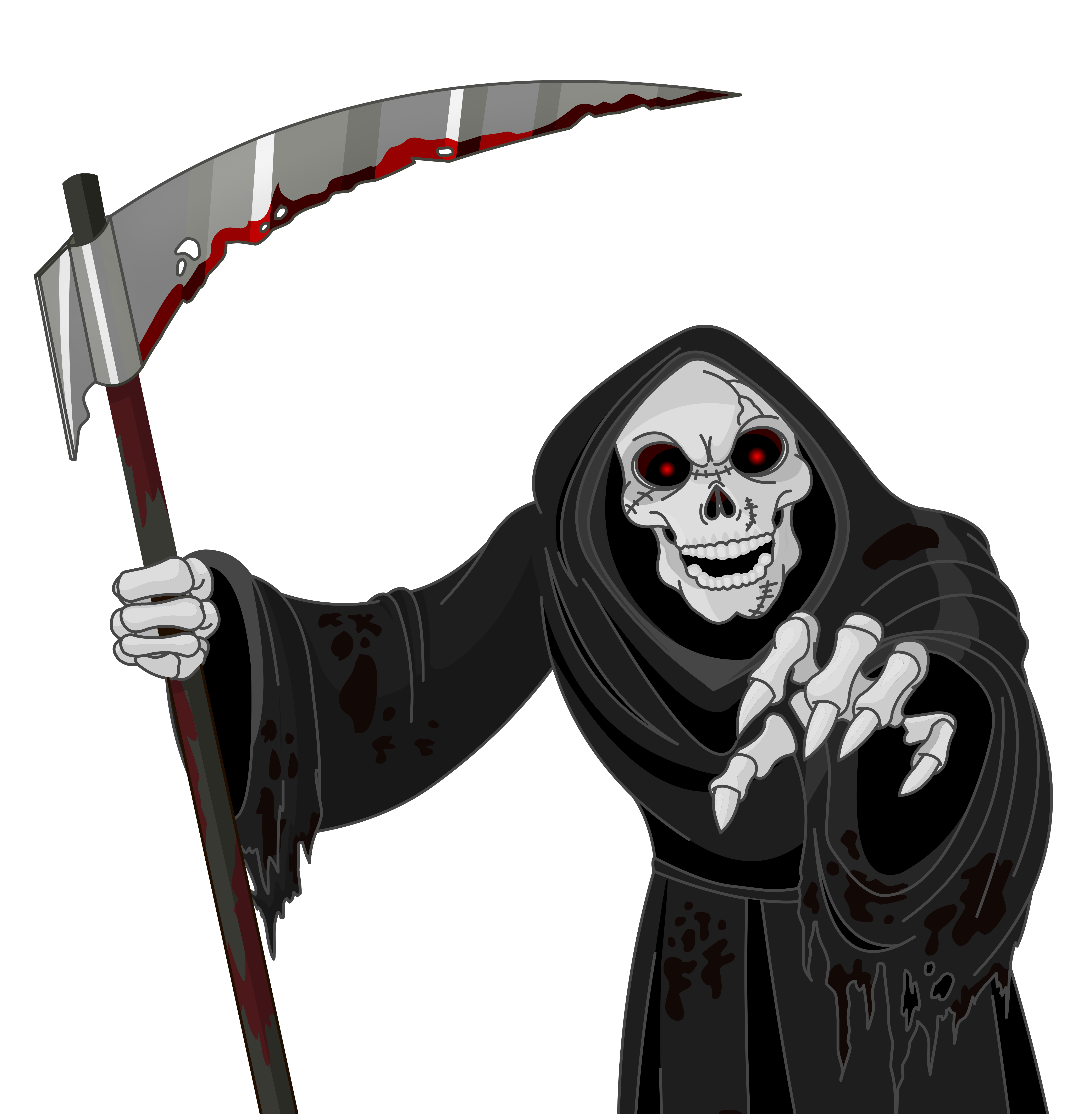 Scary Grim Reaper PNG Vector Clipart.