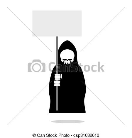 Vector Clip Art of Death with an blank paper over head. Grim.
