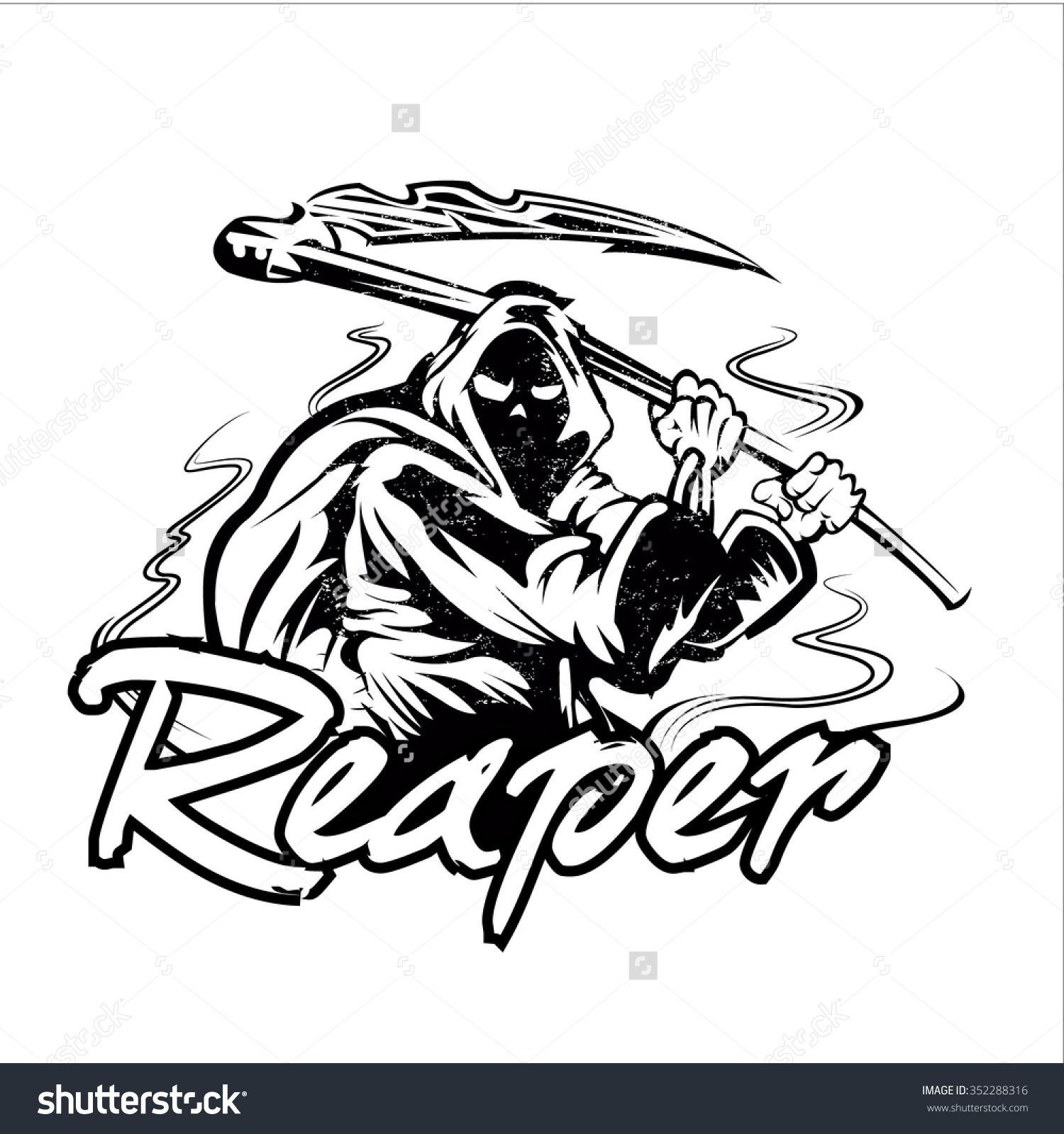 Hand Inked Grim Reaper Illustration Stock Vector 352288316.