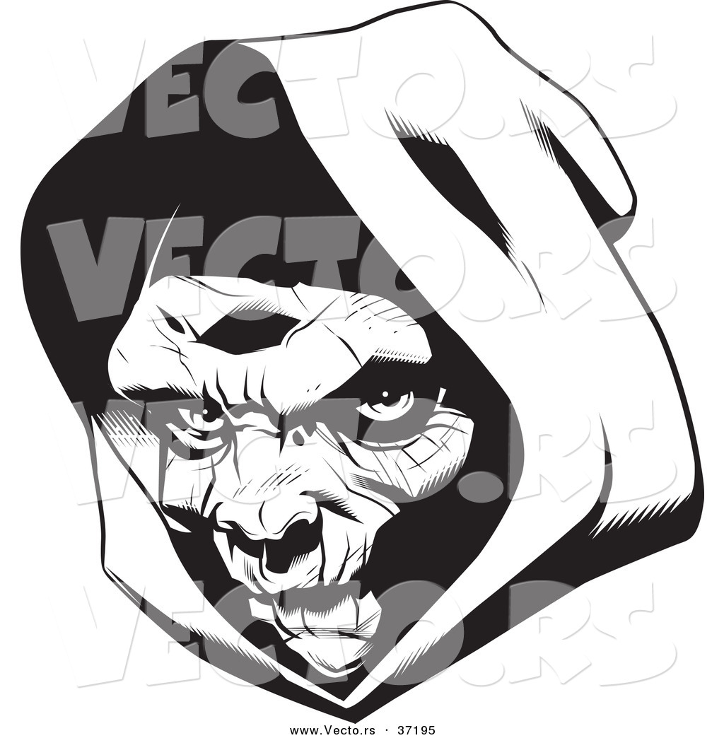 Vector of a Grim Reaper Wearing a Hood.