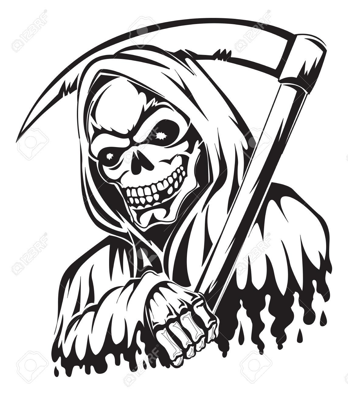 Grim Reaper Head Clipart Black And White