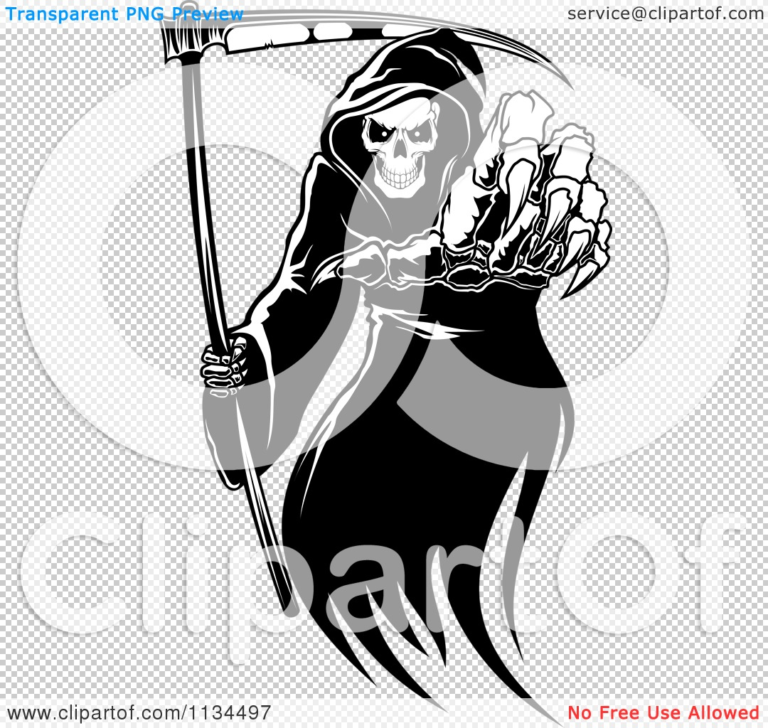Clipart Of A Black And White Grim Reaper Reaching Outwards.