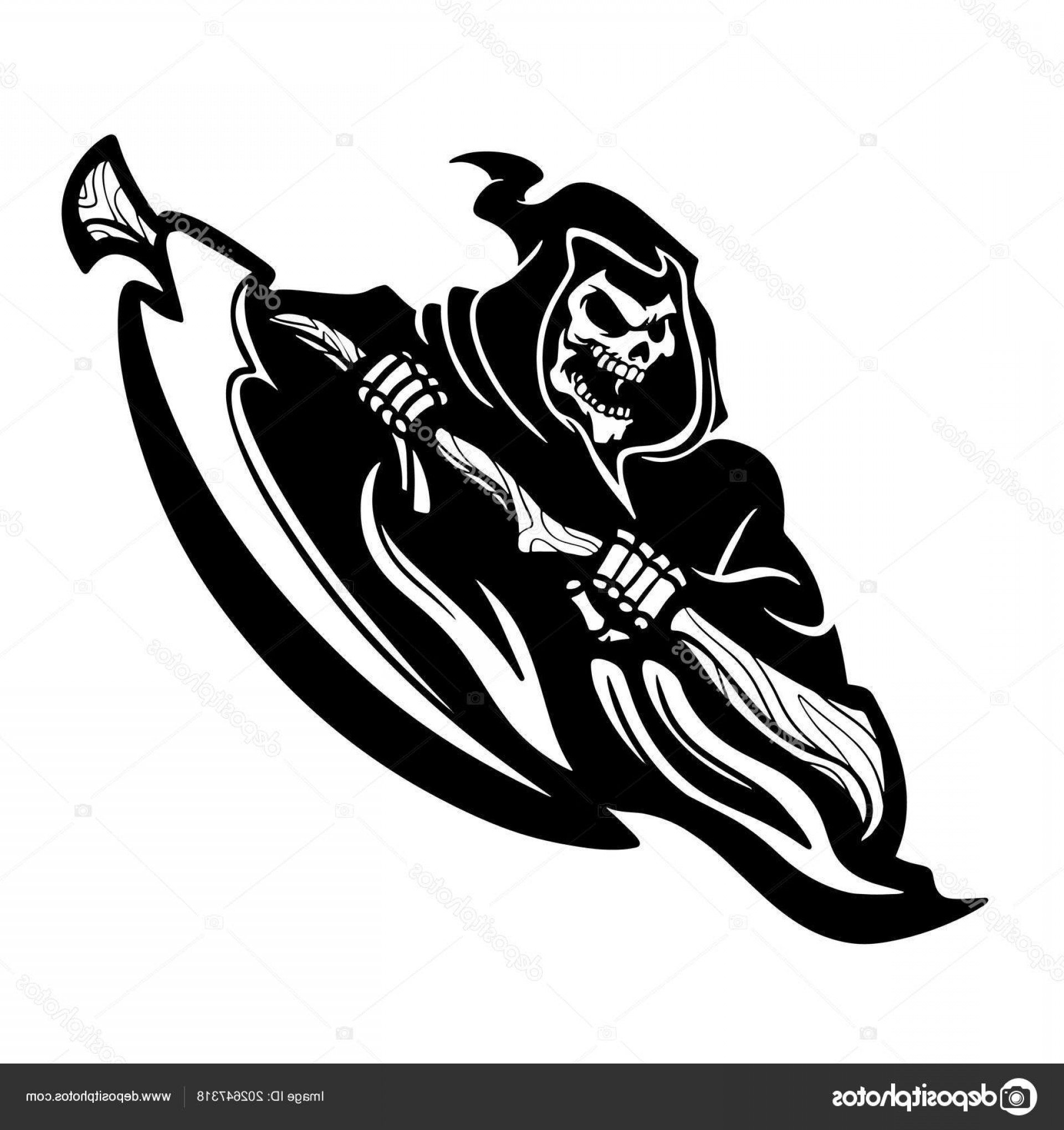 Stock Illustration Grim Reaper Vector Tattoo.