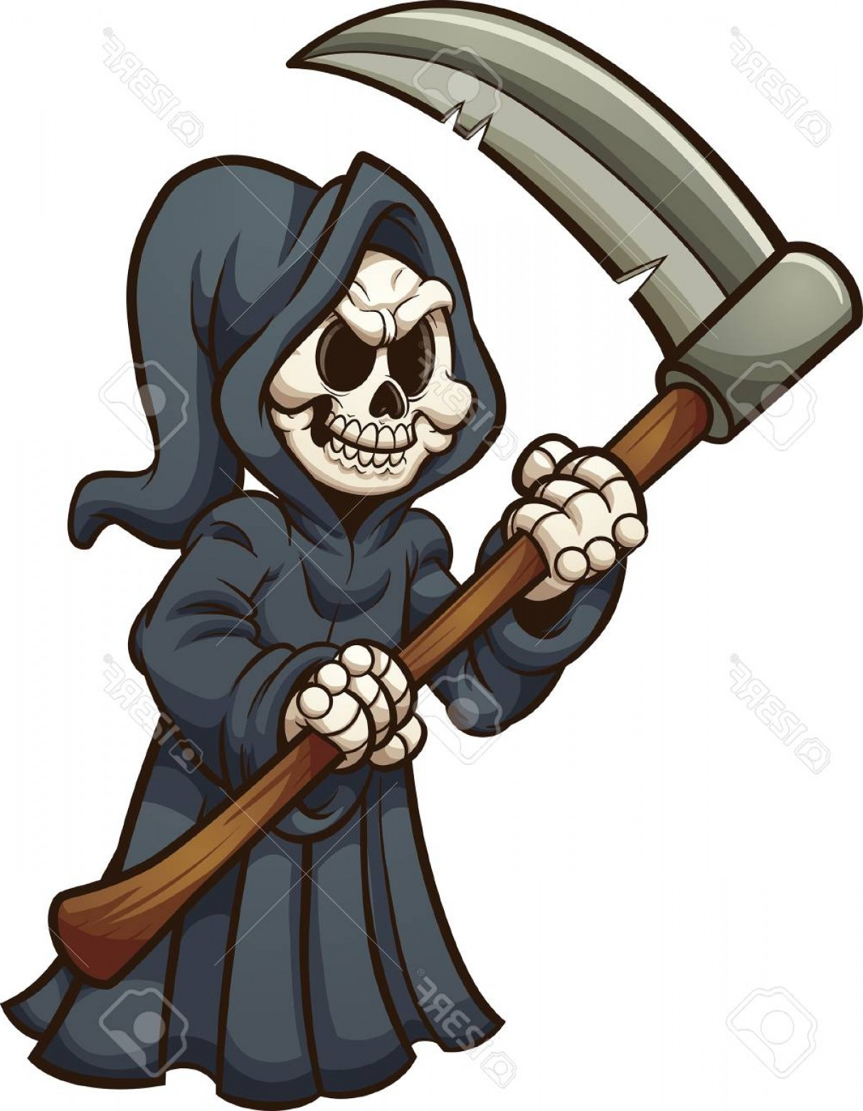 Photostock Vector Grim Reaper With Scythe Vector Clip Art.