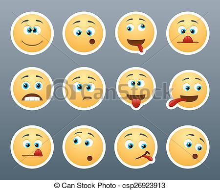 Vector Clip Art of Funny emoticons grimace.