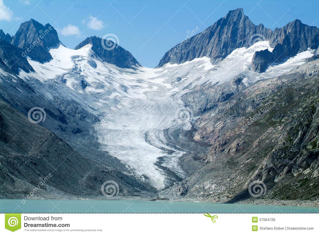 Oberaare Glacier Over Grimsel Pass Stock Photo.
