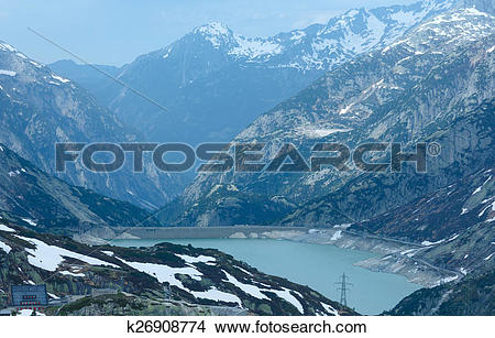 Drawings of The Grimsel Pass summer landscape with lake.