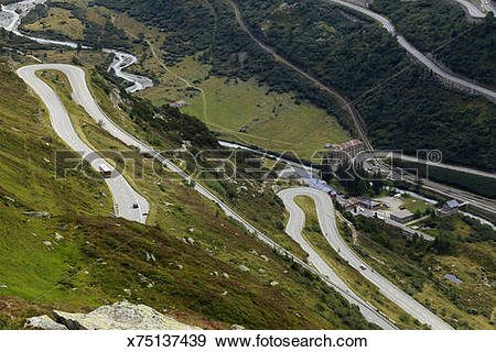 Stock Photograph of Gletsch, Grimsel and Furka Pass, Switzerland.