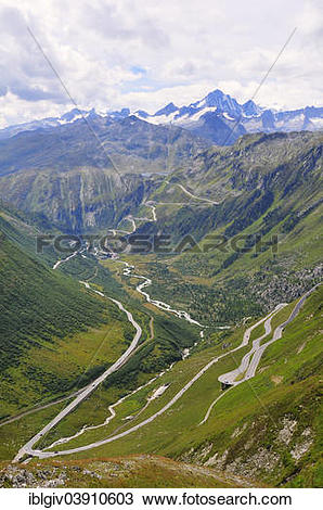 """Stock Photo of """"Furka Pass, the Rhone Valley with the Furka."""