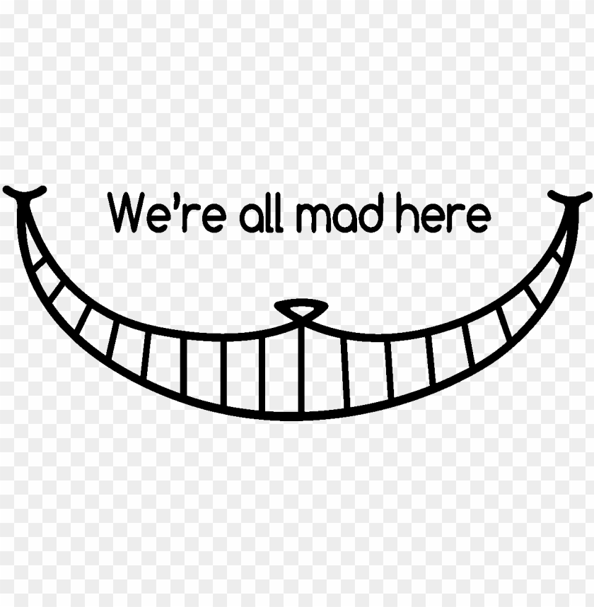 printable cheshire cat grin PNG image with transparent background.