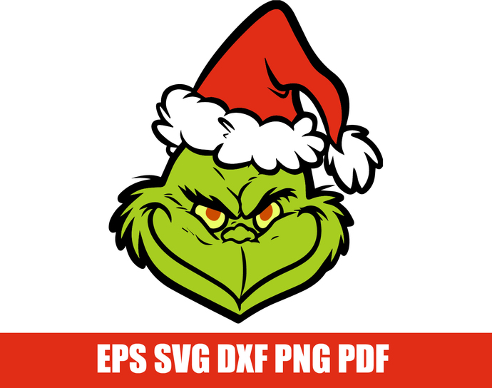 The grinch SVG, The grinch face cutfile, Grinch head svg, Layered grinch  svg, eps, dxf, png. Christmas svg, grinch clipart file for cutting.