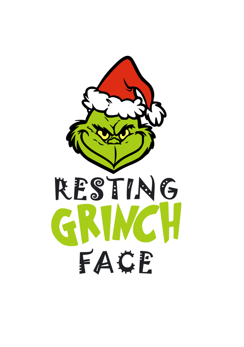 Resting Grinch Face (with Hat) Digital DXF.