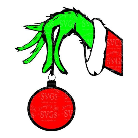 Image result for grinch hand holding ornament clipart.