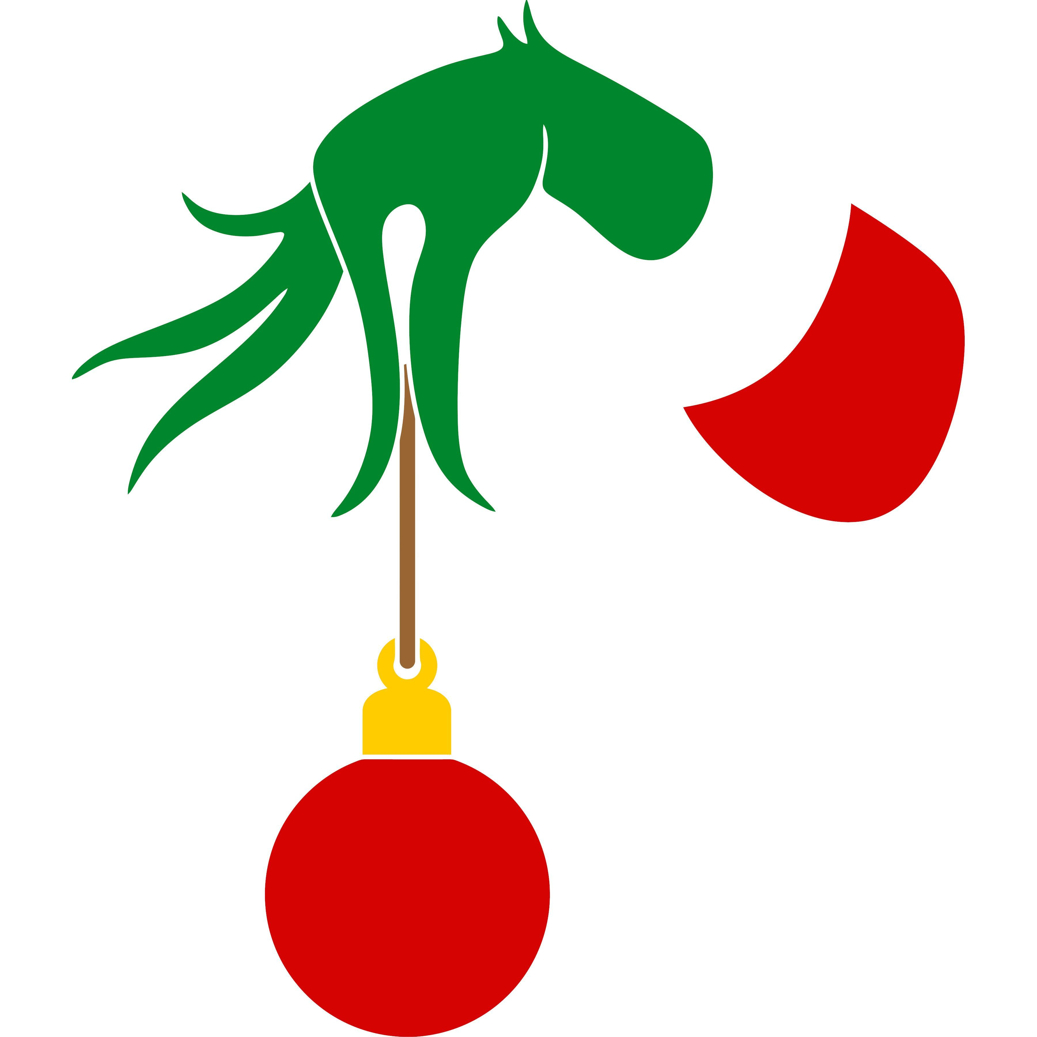 Christmas Bulb Gift Grinch Hand SVG and PNG.