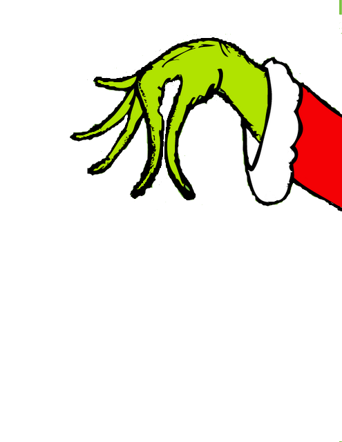 make a grinch hand holding mistletoe or ornament over balcony.