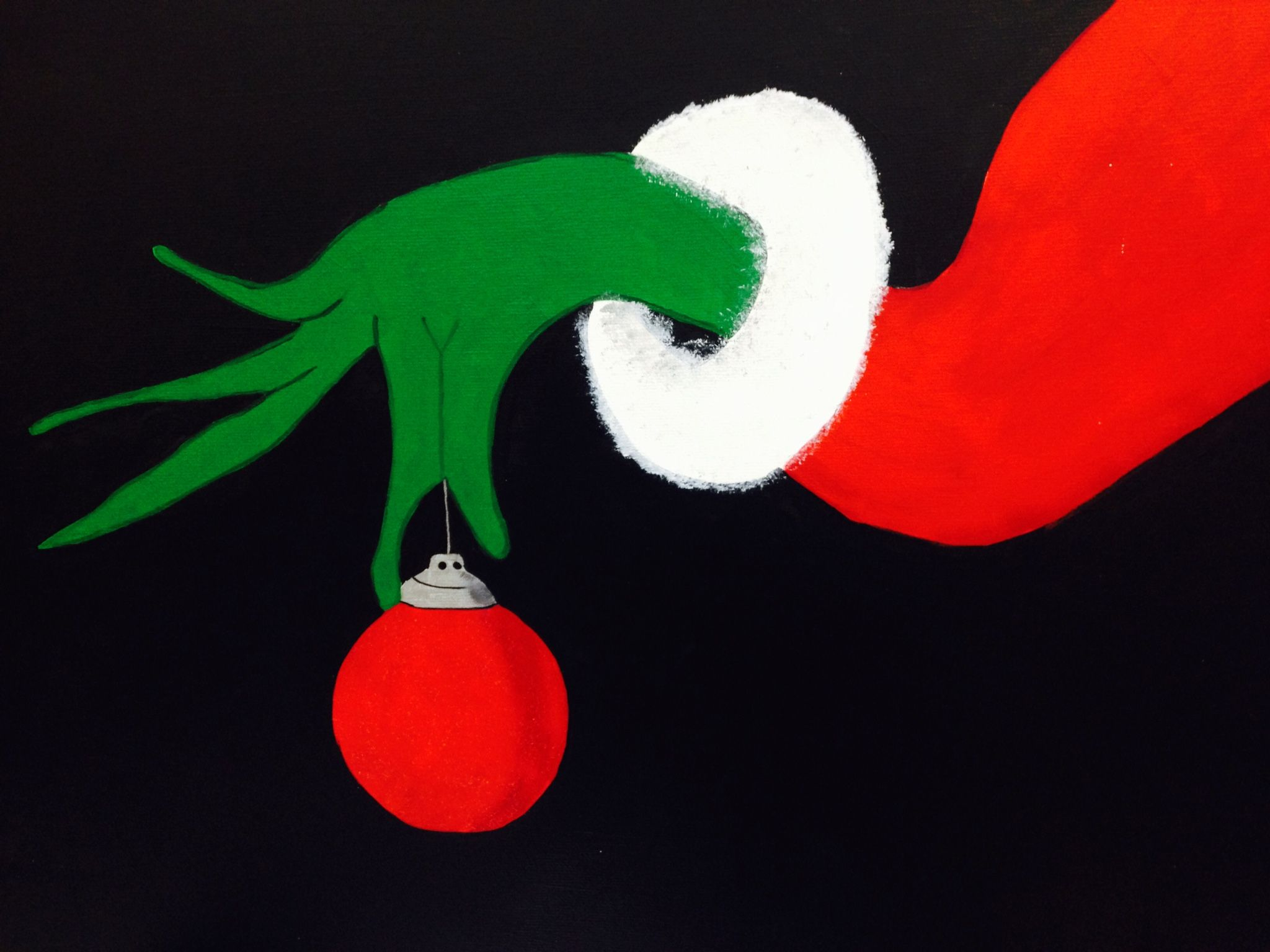 grinch hand holding ornament clipart.