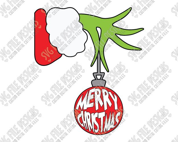 Merry Christmas Grinch Ornament Cut File Set in SVG, EPS, DXF, JPEG.