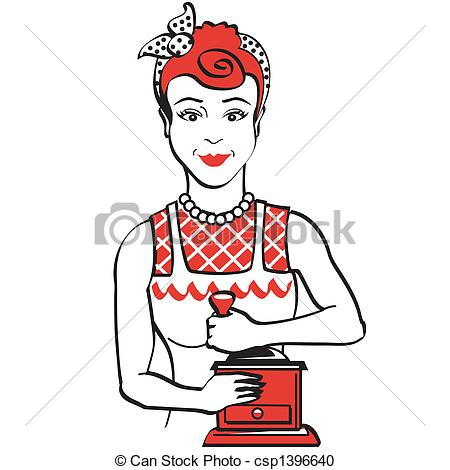 Vector Clipart of Vintage 1950s Woman Grinding Coffee.