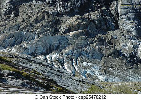Stock Photography of Glacier in rocky valley nearby Grindelwald in.