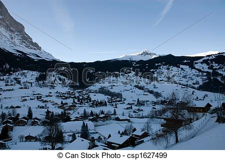 Stock Photographs of Grindelwald at Dawn.