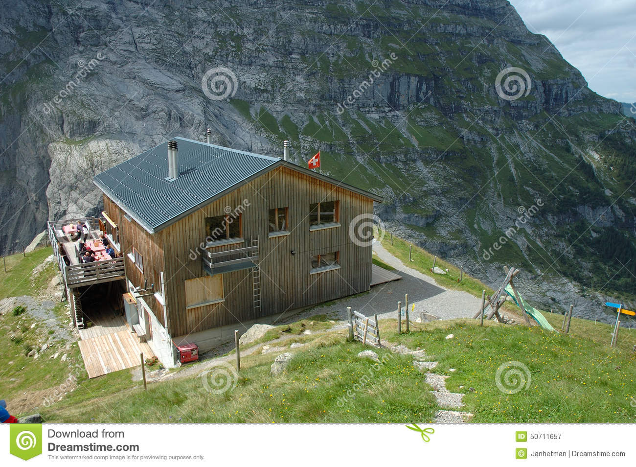 Mountain Hostel Nearby Grindelwald In Switzerland. Editorial.