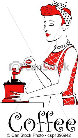 Vector Illustration of Retro Vintage Woman Grinding Coffee.