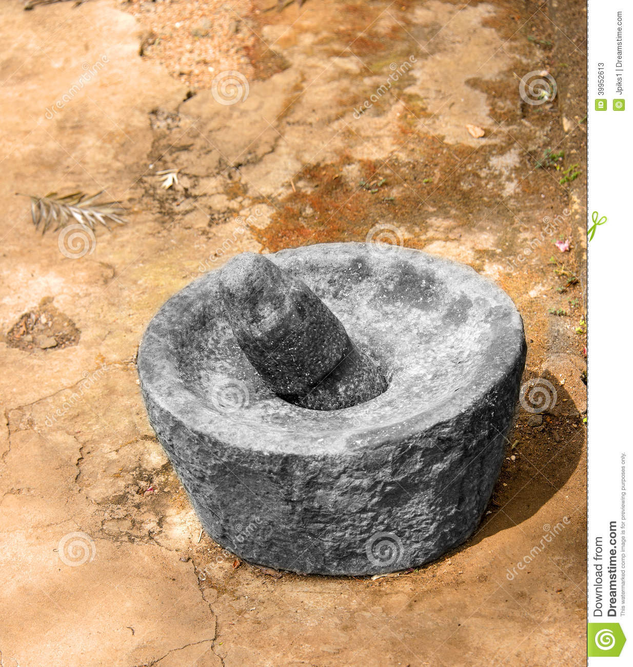 Indian Grinding Stone Stock Photo.