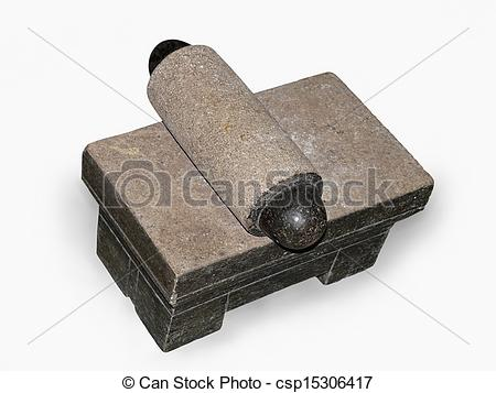 Stock Photography of Stone slab with Roller, Muller for grinding.