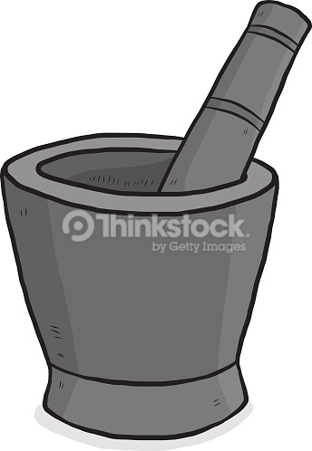 Kitchen Mortar And Pestle Vector Art.