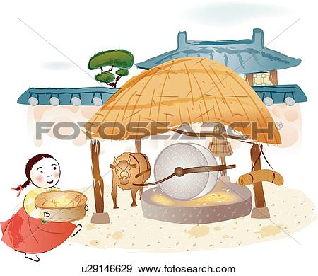 Stock Illustration of traditional Korean clothes, Fence.