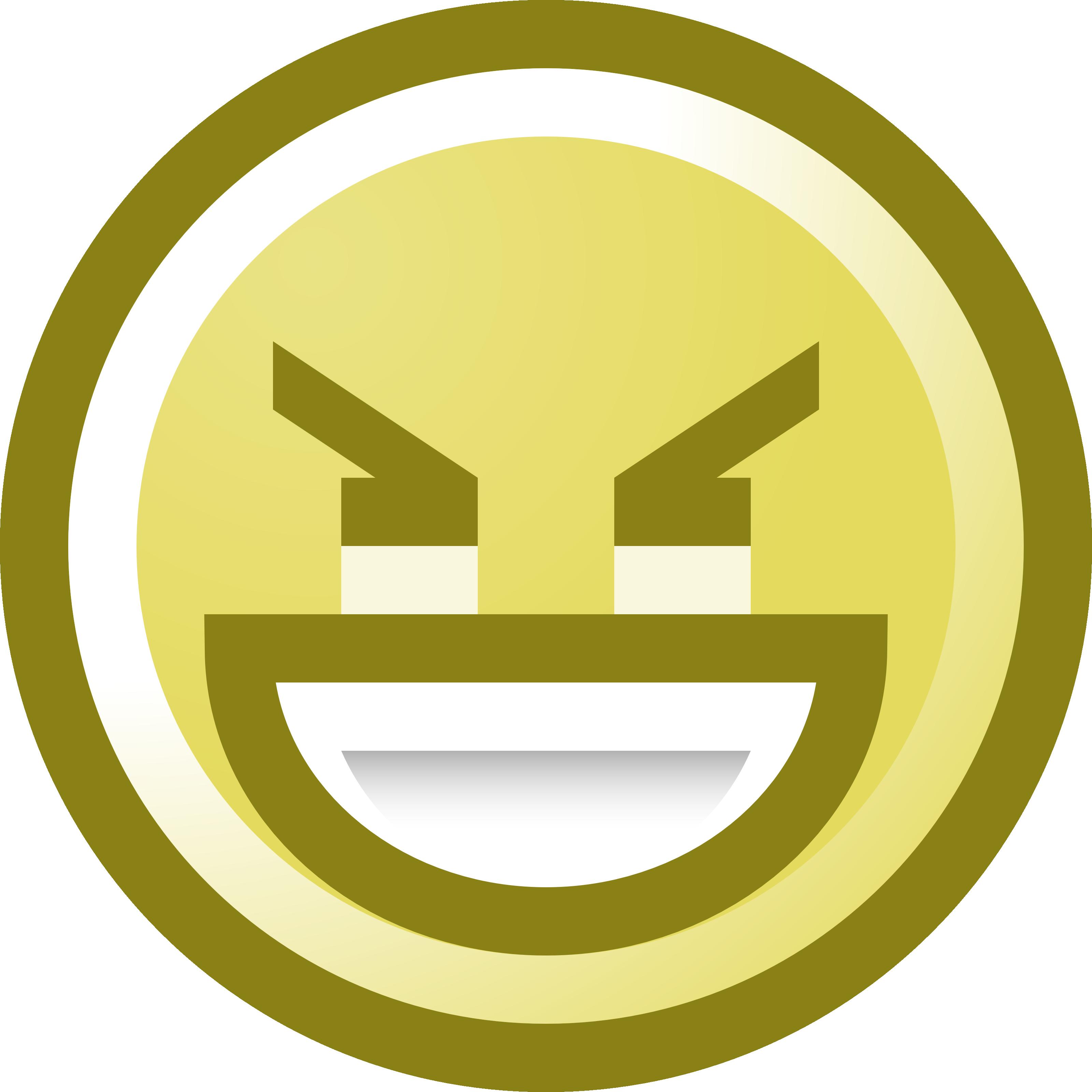 Free Evil Smiley Face Grinning Clip Art Illustration.