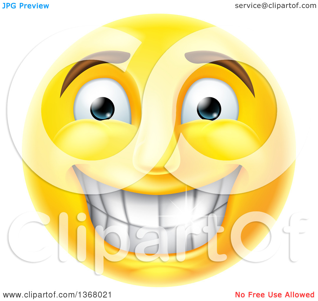 Clipart of a 3d Yellow Male Smiley Emoji Emoticon Face Grinning.