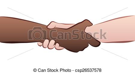 Vectors Illustration of Interracial Handshake Grip.